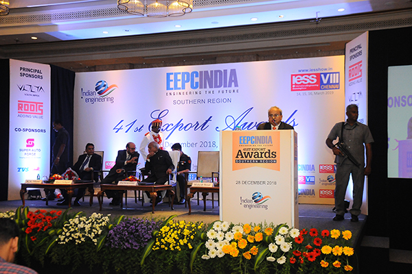 Mr Mahesh K Desai, Sr Vice Chairman and officiating as Regional Chairman (SR), EEPC India delivering his address