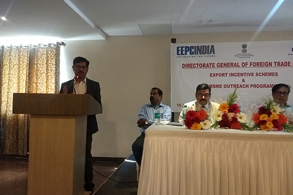 Mr. J. V. Patil, ITS, Addl. DGFT, Bengaluru - addressing the gathering on the FTP and the support provided for exports.