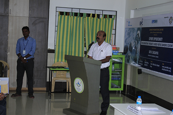 "Mr. R. Chadrasekar, President, EPC, Hosur giving welcome address at a Seminar for Road Show on ""IESS VIII & MSME OUTREACH ABHYAAN"" in Hosur, Tamil Nadu on 09 January, 2019 organised by EEPC India Regional Office, Chennai."