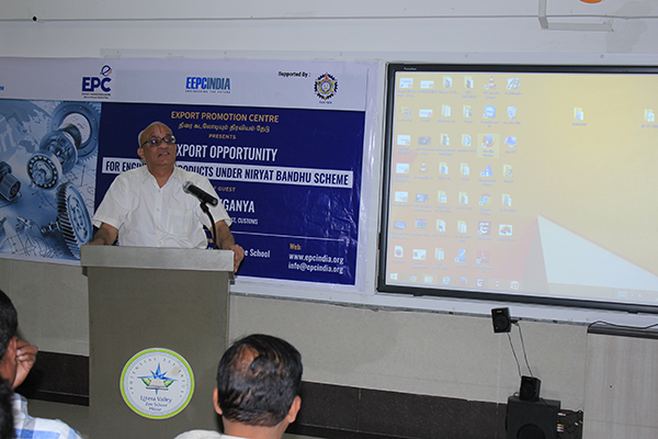 "Mr. T. S. Rajagopalan, Former Company Secretary, TVS Motor Company, Hosur addressing at the Seminar for Road Show on ""IESS VIII & MSME OUTREACH ABHYAAN"" organised by EEPC India Regional Office, Chennai."