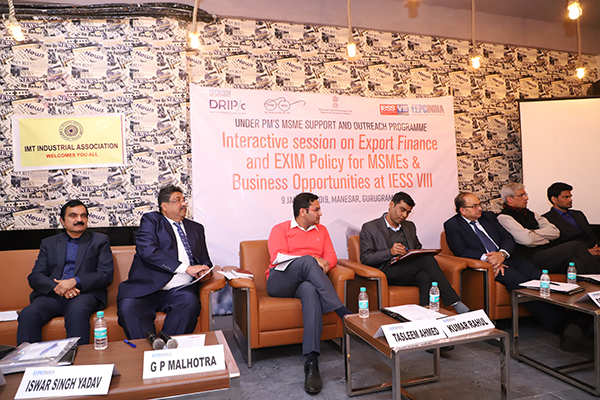 On the dais (L - R) Mr. Ishwar Singh Yadav, Asst. Director, Directorate of Industries & Commerce, Haryana; Mr. G. P. Malhotra, Assistant Director, EEPC India Regional Office, New Delhi; Mr.Tasleem Ahmed, Asst. DGFT; Mr. Kumar Rahul, Deputy DGFT; Mr. Deepak Jain, State President, Laghu Udhyog Bharti; Mr. Satish Chand, President, IMT Manesar Industrial Association; Mr. Vikash Yadav, Manager, Drip Capital are interacting with the participants at the Interactive session on Export Finance and EXIM Policy for MSMEs & Business Opportunities at IESS VIII under PM`s MSME Support and Outreach Programme. The session was organised by EEPC India Regional Office, New Delhi on 09 January, 2019.