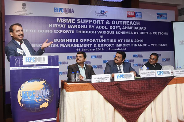 Mr Adesh Jain, IRS, Deputy Commissioner, Central GST, Ahmedabad making a presentation on MSME Support & Outreach and CGST. On the dais (L - R) Mr. Sudhakaran Nair, Deputy Director, SRO Ahmedabad, EEPC India; Dr. Rajat Srivastava, Regional Director (WR) & Director (Marketing & Sales), EEPC India; Mr. J. M. Gupta, ITS, Addl. DGFT, Ahmedabad; Mr. Pankaj Popat, President, YES BANK.  Among the dignitaries present, Mr. Akshay, Deputy DGFT, Ahmedabad and Mr. Dinesh K. Jangid, IRS, Deputy Commissioner, Customs, GST & Narcotics, Department of Revenue, Ministry of Finance, Government of India also interacted with the participants on various issues related to the GST faced by the industry.