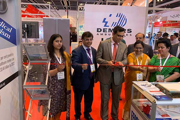 Mr. Pankaj Bodhke, Consul (Economic & Education), Consulate General of India in Dubai (third from left)  and Mr. Rajiv Nath, Forum Coordinator, Association of Indian Medical Device Industry (AiMeD) (second from left) and Ms. Kamakshi Tayal, Sr Executive Officer from EEPC India also seen (far left).