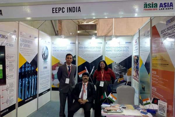 Mr. Gaurav Gandhi, First Secretary, High Commission of India, Dhaka, Bangladesh (sitting middle) visited India Pavilion. Mr. Abhishek Bhowmik, Assistant Director and  Ms. Neela Panchal, Sr. Executive Officer, EEPC India are present.