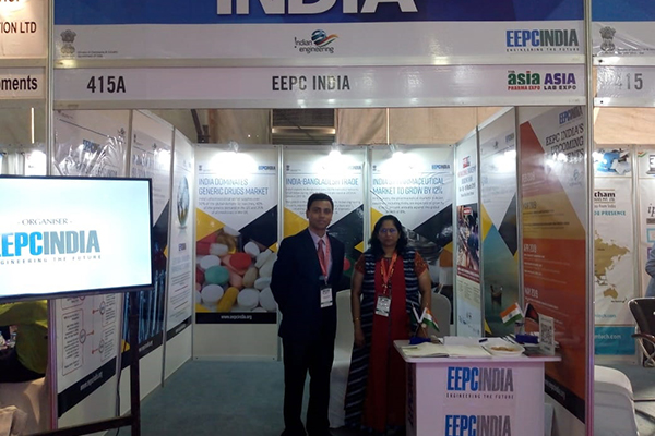 EEPC India booth. Mr. Abhishek Bhowmik, Assistant Director and Ms. Neela Panchal, Sr. Executive Officer, EEPC India are present.