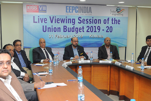 Senior Office Bearers of EEPC India are seen with the experts from Ernst & Young at the live viewing session of the Interim Budget 2019-20 held at EEPC India`s Eastern Regional Office in Kolkata. (L-R) Mr Aditya Garodia, Member of the Regional Committee (ER), EEPC India; Mr Mahesh Keyal, Chairman - Regional Functional Committee on Export Strategy (ER), EEPC India; Mr Arun Kumar Garodia, Vice Chairman, EEPC India; Mr B D Agarwal, Regional Chairman (ER), EEPC India; Mr Ravi Sehgal, Chairman, EEPC India; Mr G K Madhogaria, Dy. Regional Chairman (ER), EEPC India; Mr Avisekh Jaiswal, Director - Indirect Tax, Ernst & Young; Ms Eishani Agarwal, Manager - Direct Tax, Ernst & Young.