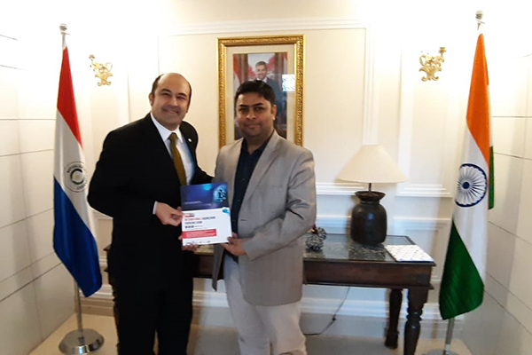 Mr Ruben Dario Benitez Palma, Minister, Dy Head of Mission, Embassy of Paraguay ( on the left) meets Mr Deepak Thakur, Sr Assistant Director, EEPC India to discuss possibilities of participation at IESS VIII.