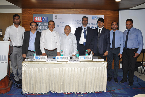 Dignitaries on the dais (from Left to Right), Mr. V. C. Ravish, Sr. Executive Officer, EEPC India; Mr. C. H. Nadiger, Regional Director, EEPC India (SR); Mr. Siva Prasad Reddy, State Coordinator Telangana & Andhra Pradesh, EEPC India; Mr. Mahesh K. Desai, Sr. Vice Chairman & Officiating as Regional  Chairman (SR), EEPC India; Mr. Kizepat Gopal, Senior Vice President, YES Bank Limited; Mr. Avinash Chandra, Vice President, YES Bank Limited.