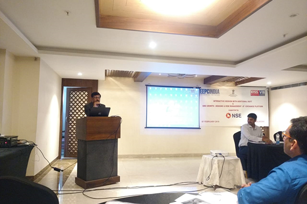 Mr. J. V. Patil, ITS, Addl. DGFT, Bengaluru, addressing the gathering on the FTP and the support provided for exports.