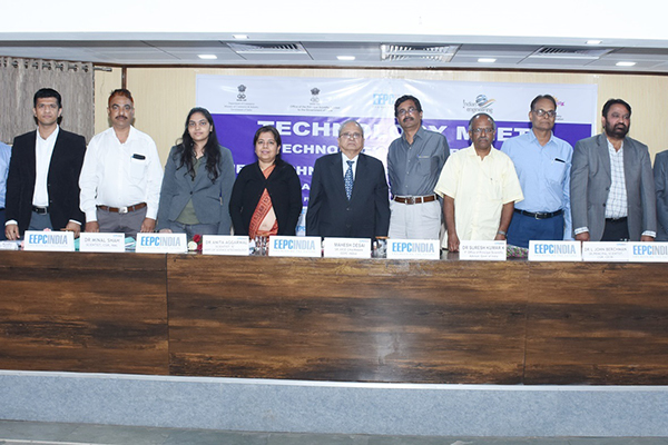 Mr Mahesh Desai, Sr.Vice Chairman,EEPC India ( at the centre); Mr Amrit G Jalavadia, Working Committee Member, EEPC INDIA ( third from right);   Mr Suresh Kumar, Scientist 'F', Office of Principal Scientific Advisor, Government of India ( to the left of Mr Desai); Dr Anita Aggarwal, Scientist 'E', Department of Science & Technology, Technology Transfer Division ( to the right of Mr Desai),Dr Minal Shah, Scientist, CSIR ( third from left) ; and other speakers at the event
