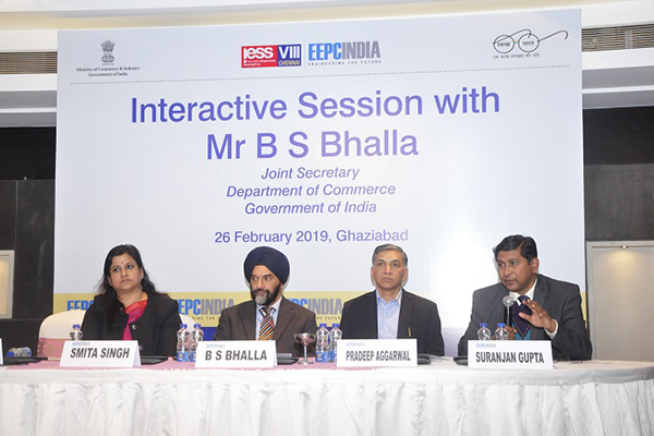 EEPC India Northern Regional Office had organised an Interactive Session with Joint Secretary, Department of Commerce, Government of India. The dignitaries present on the dais (L - R) : Ms. Smita Singh, Regional Manager, UP SIDC; Mr. B. S. Bhalla, Joint Secretary, Department of Commerce, Govt of India; Mr. Pradeep Kumar Aggarwal, Dy. Regional Chairman (NR), EEPC India and Mr. Suranjan Gupta, Executive Director, EEPC India.