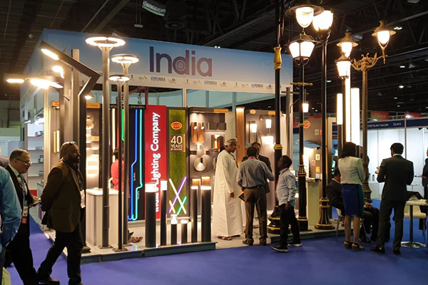Booths inside India Pavilion.