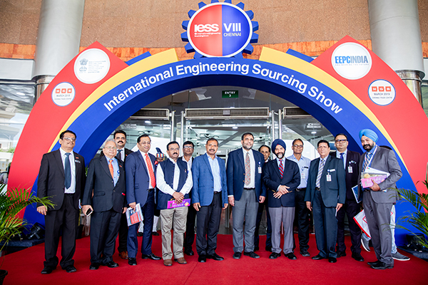 Dignitaries at the  Main entrance to IESS VIII 2019- Dr  Anup Wadhawan, Commerce Secretary, Dept of Commerce, Ministry of Commerce and Industry, Govt of India ( front row - 4th from right), (on his left) – Mr B S Bhalla, Joint Secretary, Dept of Commerce, Ministry of Commerce and Industry,Govt of India; (on his right) Mr Dharmendra Pratap Yadav, Secretary, MSME, Govt of Tamil Nadu. Front row (from left) Mr C H Nadiger, Regional Director, (SR), EEPC India; Mr Mahesh K Desai, Sr Vice Chairman & Officiating as Regional Chairman (SR), EEPC India; Mr Anupam Shah, Former Chairman, EEPC India; Dr Rakesh Verma, Spl Secretary Industries, Govt of UP; Mr K L Dhingra, Regional Chairman (WR), EEPC India; Mr Gurvinder Singh, Director (Exhibitions), EEPC India. Second Row (Far left) – Mr Rajat Srivastava, Regional Director (WR) and Director (Marketing & Sales), EEPC India and (far right) Mr Rakesh Suraj, Regional Director (NR), EEPC India