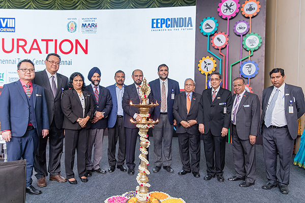 Opening Ceremony- Dr  Anup Wadhawan, Commerce Secretary, Dept of Commerce, Ministry of Commerce and Industry, Govt of India (5th from right); (on his right), Mr Ravi Sehgal, Chairman, EEPC India; Mr Dharmendra Pratap Yadav, Secretary, MSME, Govt of Tamil Nadu; Mr B S Bhalla, Joint Secretary, Dept of Commerce, Ministry of Commerce and Industry,Govt of India; Datuk K Talagavathi, Deputy Secretary General, Ministry of International Trade and Industry, Govt of Malaysia; H.E. Dato Hidayat Abdul Hamid, High Commissioner of Malaysia and Dato' Madani Sahari, CEO, Malaysia Automotive Robotics & IoT Institute (MARii). On the left of Commerce Secretary - Mr Mahesh K Desai, Sr Vice Chairman & Officiating as Regional Chairman (SR), EEPC India; Mr Arun Kumar Garodia, Vice Chairman, EEPC India; Mr Rakesh Shah, former Chairman and Chairman Publicity, Exhibition and Delegation Committee, EEPC India and Mr Suranjan Gupta, Executive Director, EEPC India
