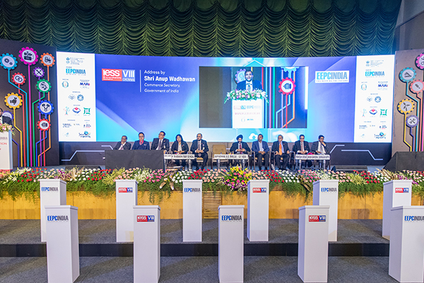 Dr. Anup Wadhawan, Commerce Secretary, Dept of Commerce, Ministry of Commerce and Industry, Govt of India addressing gathering at the Opening Ceremony. On the Dais ( from left) - Mr Rakesh Shah, former Chairman and Chairman Publicity, Exhibition and Delegation Committee, EEPC India; Dato' Madani Sahari, CEO, Malaysia Automotive Robotics & IoT Institute (MARii); H.E. Dato Hidayat Abdul Hamid, High Commissioner of Malaysia;  Datuk K Talagavathi, Deputy Secretary General, Ministry of International Trade and Industry, Govt of Malaysia; Datuk K Talagavathi, Deputy Secretary General, Ministry of International Trade and Industry, Govt of Malaysia; Mr B S Bhalla, Joint Secretary, Dept of Commerce, Ministry of Commerce and Industry,Govt of India; Mr Dharmendra Pratap Yadav, Secretary, MSME, Govt of Tamil Nadu; Mr Mahesh K Desai, Sr Vice Chairman & Officiating as Regional Chairman (SR), EEPC India; Mr Arun Kumar Garodia, Vice Chairman, EEPC India and Mr Suranjan Gupta, Executive Director, EEPC India.