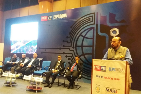 Mr. Ravi Sehgal, Chairman, EEPC India delivering his welcome remarks on the 3rd and final day of IESS VIII was held during 14 - 16 March, 2019 in the Chennai Trade Centre, Chennai. On the dais (L-R),                     Mr. Rakesh Shah, Chairman, Publicity, Exhibition & Delegation Committee, EEPC India; Mr. Mahesh K. Desai, Sr. Vice Chairman and officiating as Regional Chairman (SR), EEPC India; Mr. Dato' Madani                       Sahari, CEO, Malaysia Automotive Robotics & IoT Institute (MARii); Mr. Arun Kumar Garodia, Vice Chairman, EEPC India and Mr. Suranjan Gupta, Executive Director, EEPC India are present. Mr. Rakesh                       Shah, Chairman, Publicity, Exhibition & Delegation Committee, EEPC India had announced the Best Pavilion Awards on the final day of the Show.  Mr. Suranjan Gupta, Executive Director, EEPC India made                   the concluding remarks about the closing of the 3 days Gala Event by EEPC India annually.