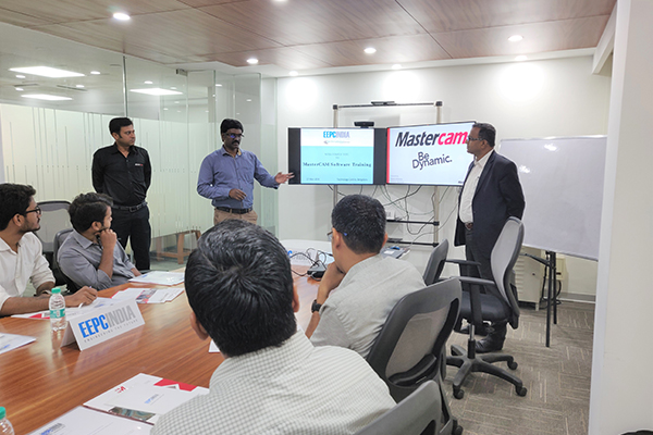 Mr. D. Karthikeyan, Assistant Head, Technology Centre, (standing left- beside the screen) welcoming the participants at MasterCam Software Training held today in EEPC India Technology Centre, Bengaluru