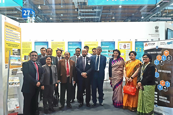 EEPC India team headed by Mr Ravi Sehgal, Chairman, EEPC India ( 4th from right)  with   Dr A R Sihag, Secretary, Department of Heavy Industry, Government of India( 3rd from right and to his left)  Ms. Sukriti Likhi, Joint Secretary, DHI; Ms  Paramita Tripathi, Dy Chief of Mission, Embassy of India,Berlin and Ms Pallavi  Saha, Sr Deputy Director, EEPC India. Mr Mukesh Samtani, Assistant Director, EEPC India is far left.