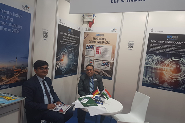 Mr Mukesh Samtani, Assistant Director, EEPC India inside EEPC India booth at Hannover Messe 2019 with Mr Shrikanth Venkateshappa, Key Account Manager, International Customized Solutions, Wohner GmbH & Co KG