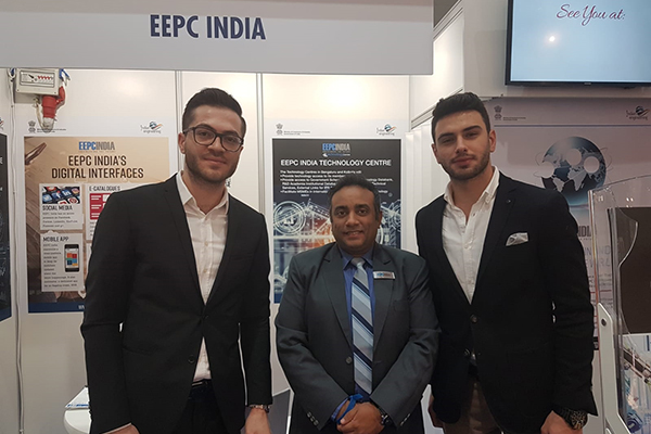 Mr Mukesh Samtani, Assistant Director, EEPC India inside EEPC India booth at Hannover Messe 2019 with Mr. Abdullah Cem Kayhan, Mechanical Engineer & Kubilay Kayhan, Mechanical Engineer of Fenitsa Pneumatic, Turkey