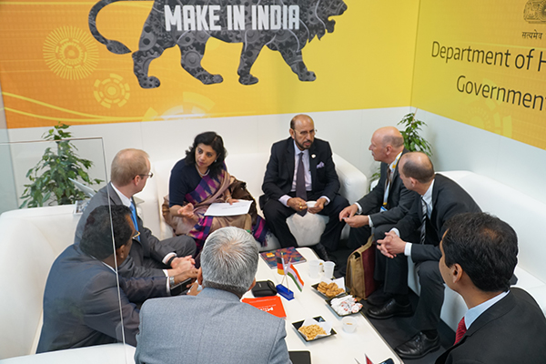 Mr Ravi Sehgal, Chairman, EEPC India and Ms. Sukriti Likhi, Joint Secretary, DHI(Department of Heavy Industry), Government of India  meeting visitors at DHI pavilion