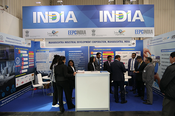 Mr M.L. Raigar, Consul General of India to Hamburg  at MIDC ( Maharashtra Industrial Development Corporation) booth inside India Pavilion