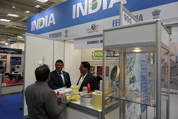 Mr M.L. Raigar, Consul General of India to Hamburg  taking a tour of stalls inside India Pavilion