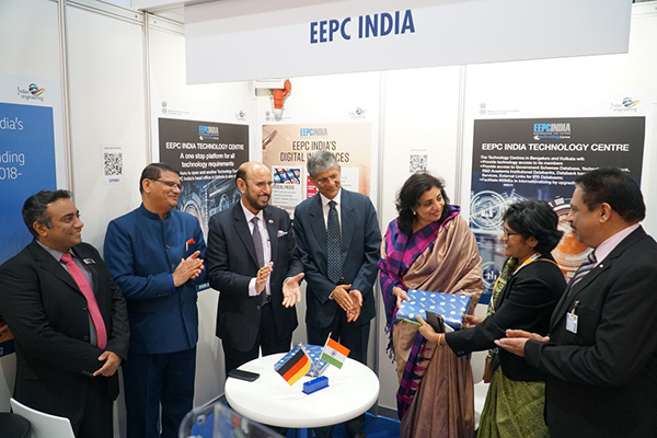 Ms Pallavi Saha, Sr Deputy Director, EEPC India (2nd from right), is presenting memento to Ms. Sukriti Likhi, Joint Secretary, Department of Heavy Industry, Government of India, on her right, Dr A R Sihag, Secretary, Department of Heavy Industry, Government of India; Mr Ravi Sehgal, Chairman, EEPC India; and Mr M L Raigar, Consul General of India, Hamburg are present. Mr Mukesh Samtani, Assistant Director, EEPC India is far left.