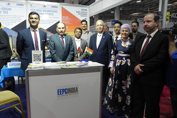 India Pavilion at JIMEX 2019 inaugurated by (second  from left) - H.E. Ministry of Public Works and Housing, Eng. Fallah Abdullah Al-Amoush; To his left, Mr Murugaraj D, Second Secretary (Political, Info & Culture), Embassy of India in Amman, Jordan; Jordan Engineering Association President, Eng. Ahmad Samarah; Mr Kulwant Singh, Second Secretary (Commerce), Embassy of India in Amman, Jordan, and Mr V .C. Ravish, Sr Executive Officer, EEPC India, SRO Hyderabad (far left) are inside EEPC India booth.