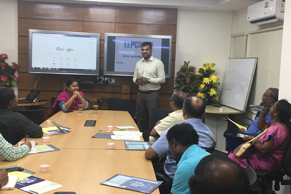 Mr. D. Vinod Kumar, Assistant Director, EEPC India (SR) is welcoming the participants to the new members meet organised by EEPC India (RO), Chennai.