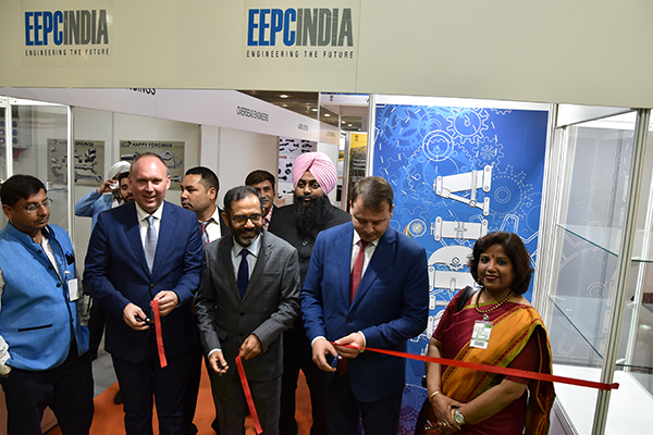 Inauguration of India Pavilion by the Indian Ambassador- HE Mr S Bhattacharjee, Ambassador of India in Serbia (Middle) and ( to his left) Mr Slobodan Cvetkovic,CEO, Novi Sad Fair and Ms Jaya Basu, Joint Director, EEPC India is on the far right