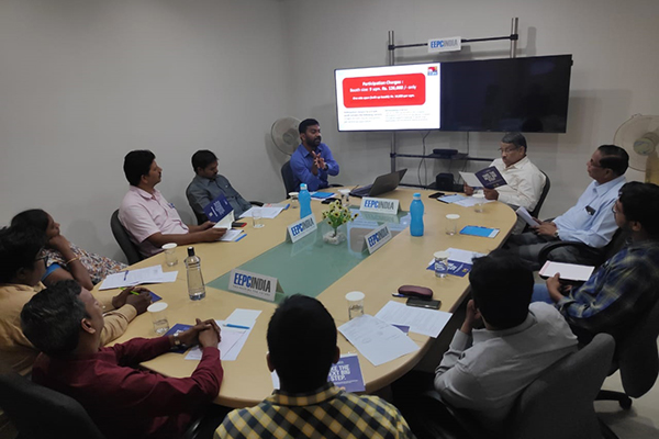Mr. V. C. Ravish, Assistant Director, EEPC India, SRO Hyderabad [far left] addressing the gathering on the role of EEPC to Exporters at New Member Meet was held in Sub-Regional Office, Hyderabad.