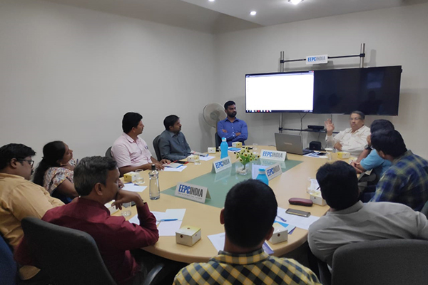 Mr. U.L.N Chainulu, Senior Manager, ECGC Ltd, Hyderabad [far right] addressing the members on Role of ECGC in Export Promotion.