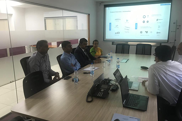 Ms Meeta Ravi Lochan, IAS, ADGFT (far right-in the left panel)  along with Mr Lokesh, Jt ADGFT (2nd from left - in the panel )  Dr Rajat Srivastava,Regional Director (WR)  and Director (Marketing and Sales), EEPC India (3rd from left-in the left panel) and Mr Varun Chulate,Assistant Director,EEPC India (far left in the left panel) meeting Bharat Forge officials.