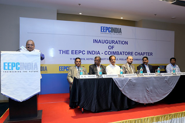 Opening Remarks by Mr. Mahesh K. Desai, Sr. Vice Chairman & officiating as Regional Chairman (SR), EEPC India at the Inauguration of EEPC India Coimbatore Chapter was held over 11th May, 2019 in Coimbatore. The dignitaries are present on the dais (L-R) Mr. K. S. Mani, Dy. Regional Chairman (SR), EEPC India; Dr. S. Chandrashekar, Convener, EEPC India Coimbatore Chapter; Mr. V. Laksminarayanasamy, Managing Director, Suguna Group, Coimbatore; Mr. Ravi Sehgal, Chairman, EEPC India; Mr. G. Soundararajan, Vice Chairman, CRI Group, Coimbatore; and Mr. Suranjan Gupta, Executive Director, EEPC India.