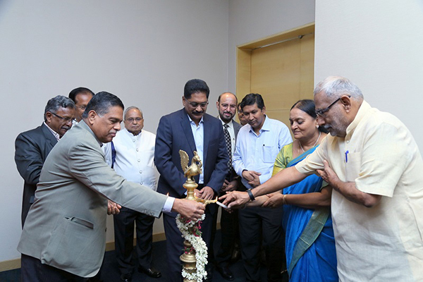 Mr. K. S. Mani, Dy. Regional Chairman (SR), EEPC India (left) is lighting the Kuthuvillaku accompanied by other dignitaries present at the inaugural session of EEPC India Coimbatore Chapter.