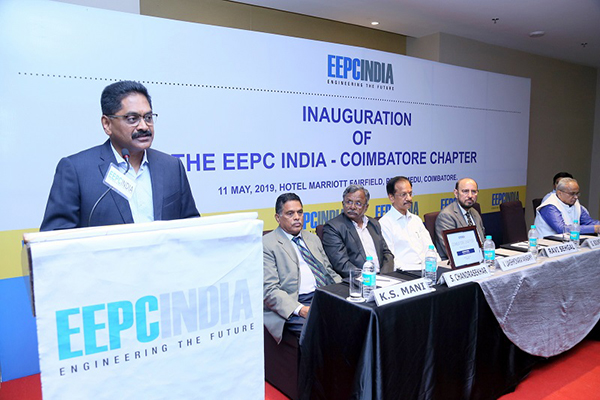 Mr. G. Soundararajan, Vice Chairman, CRI Group, Coimbatore is addressing at the seminar on Inauguration of EEPC India Coimbatore Chapter organized by EEPC India (SR).