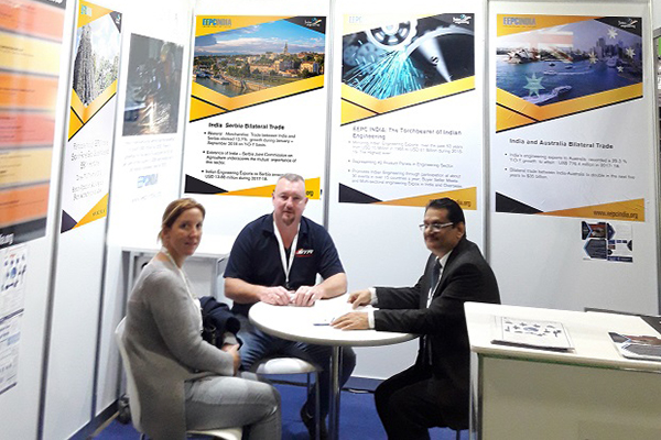 Mr. C. H. Nadiger, Regional Director (SR), EEPC India is interacting with Visitors at EEPC India Information booth.