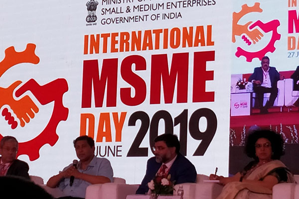 """Mr.  Suranjan Gupta, Executive Director, EEPC India (third from right) is addressing the forum on """"Indian MSMEs, Global Aspirations"""" on International MSME Day 2019 organised by Ministry of MSME, GOI. Ms.  Alka Arora, Joint Secretary, Ministry of MSME, Government of India (extreme right) is present."""