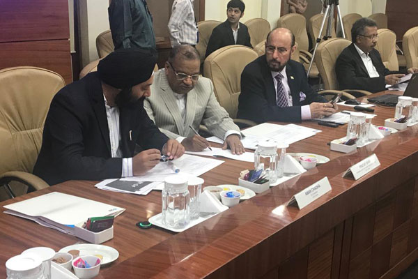 EEPC India Chairman, Mr Ravi Sehgal (2nd from right); Past Chairmen Mr P K Shah (2nd from left) and Mr Aman Chadha (left) are present in Hon`ble Minister for Commerce & Industry, Government of India Mr Piyush Goyal`s review meeting  on Export Credit with RBI, PSU Banks, ECGC, EXIM Bank, FIEO and other Export Promotion Councils