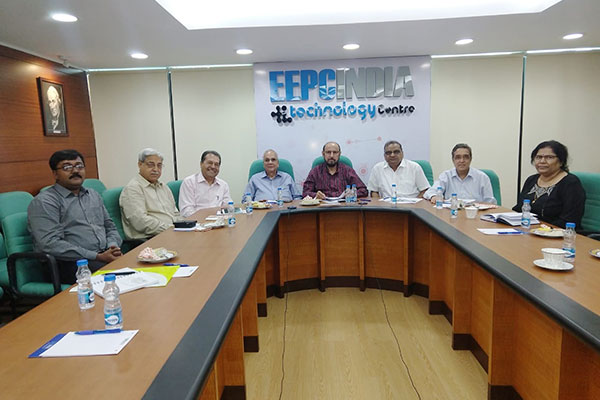 At the centre -EEPC India  Chairman - Mr Ravi Sehgal, ( on his left)  Ex Chairman-Mr P K.Shah  ,Vice Chairman -Mr Arun Kumar Garodia ,(On the right of Chairman), Regional  Chairman (ER), Mr B D Agarwal,  Secretary General & Exec Head, Dr BhaskarChatterjee (far left)  & Director, Regulatory &Policy , Mr Ravinder Bhan (to the right of Dr Chatterjee). Ms Anima Pandey,  Regional Director (ER)  and Director (Membership), EEPC India ( far right)  and Mr Saikat Dutta, Joint Director, Policy, EEPC India