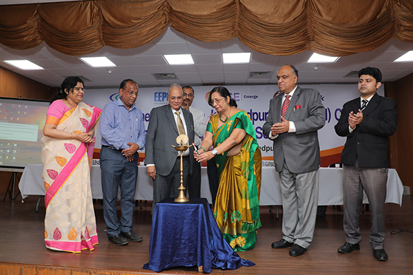 Ms Ranjana Mishra, Regional Deputy Director, JIADA ( Jharkhand Industrial Area Development Authority)  Adityapur Region  lighting the inaugural lamp . On her right - Mr B D Agarwal, Regional Chairman (ER), EEPC India,  Mr Inder Agarwal, Convener, Jamshedpur (Jharkhand) Chapter, EEPC India . On her left -Mr Pawan Sureka, Chairman, Functional Committee, Export Awareness, ER, EEPC India . Far left - Ms Anima Pandey, Regional Director (ER) and Director (Membership), EEPC India and Far Right- Mr Dipan Mitra, Manager,  National Stock Exchange