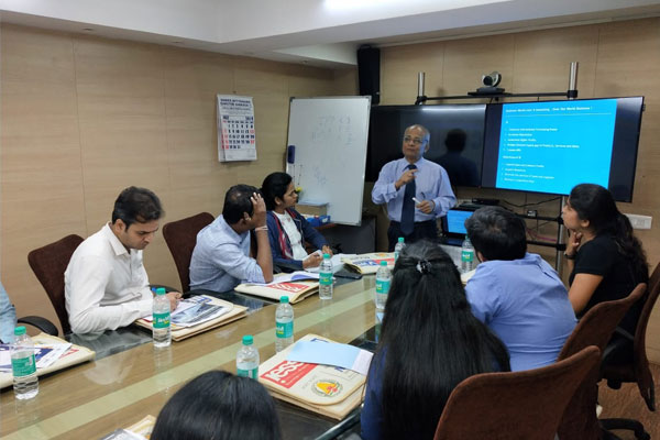 Mr. Khedkar imparting the training to the participants.