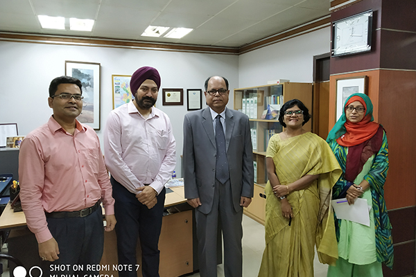 Meeting with Federation of Bangladesh Chambers of Commerce & Industries  (FBCCI) in Dhaka.  From Left to Right: Shah Md.  Maksudul Haque,  Dy Secretary (International),  FBCCI,  Mr. Gurvinder Singh,  Director (Exhibitions),  EEPC India,  Mr. Hussain Jamil,  Secretary General,  FBCCI,  Ms.  Pallavi Saha,  Sr.  Dy.  Director,  EEPC India and Ms.  Farjana Nur Purani,  Officer (International),  FBCCI