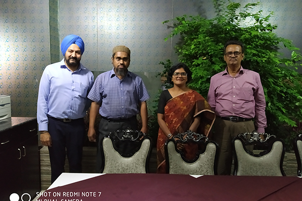 Meeting with Bangladesh Engineering Industry Owners` Association (BEIOA)  in Dhaka.  From L-R : Mr.  Gurvinder Singh,  Director (Exhibitions),  EEPC India,  Mr.  Mosaruf Hossain Mir,  Consultant,  BEIOA,  Ms.  Pallavi Saha,  Sr.  Dy.  Director,  EEPC India and Mr.  Abdur Razzaque,  President,  BEIOA.