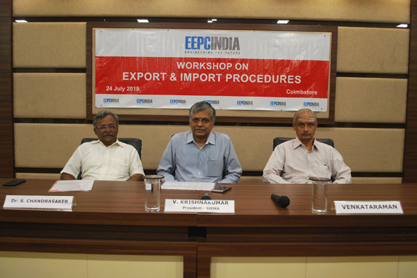 Dignitaries on the Dias - Mr V Krishna Kumar, President, SIEMA, Coimbatore (Centre) is giving  the opening remarks; To his left, Mr Venkataraman, Founder, Freight Club; and Dr S Chandrasaker, Head, Coimbatore Chapter has addressed the participants on EEPC role and benefits.