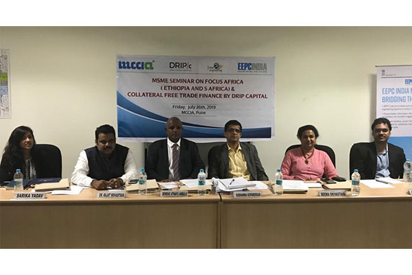 EEPC India WR Office and MCCIA jointly organised a MSME seminar on Focus  Africa on July 26th. Mr Demeke Atnafu Ambulo-Consul General for Ethiopia in Mumbai (3rd from left)  was the Chief Guest. Ms  Seema Srivastava, ED, ITME (2nd from right) and Dr. Rajat Srivastava, Regional Director (WR) & Director (Marketing & Sales), EEPC India (2nd from left) are present among others.