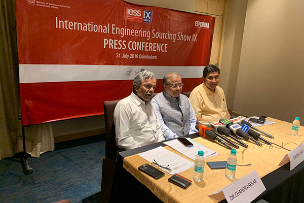 From left -  Dr S Chandrasekhar, Coimbatore Chapter Convenor, EEPC India; Mr Rakesh Shah, Former Chairman & Chairman, Publicity, Exhibition & Delegation Committee, EEPC India and Mr Suranjan Gupta, Executive Director, EEPC India