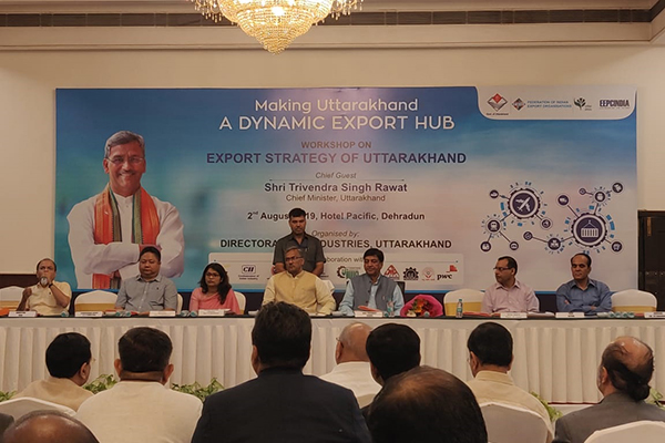 Mr Trivendra Singh Rawat, Hon'ble Chief Minister of Uttarakhand( at the centre) and  Ms.Manisha Panwar,IAS, Principal Secretary Industries, Govt of Uttarakhand, among other dignitaries on the dais