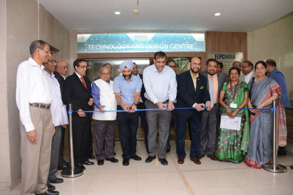 Ribbon Cutting  as a mark of inauguration by Dr Anup Wadhawan, Commerce Secretary, MOC&I, GOI (4th from left); Mr B S Bhalla, Additional Secretary, DOC, MOC&I, GOI (3rd from left ). Mr Ravi Sehgal, Chairman, EEPC India (5th from left). Mr Mahesh K Desai, Sr Vice Chairman, EEPC India (2nd from left) ; Mr Arun Kumar Garodia , Vice Chairman, EEPC India (far left); Mr Bhaskar Sarkar, Advisor, EEPC India Technology Centre (to the left of Mr Sehgal).